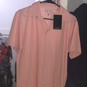 PINK BUTTON UP 100% COTTON, BRAND NEW